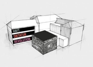 grafische Darstellung des ehemaligen Stasi U-Haftgebäudes in der Andreasstraße mit einer Einteilung der Ausstellungsetagen (Quelle: KOCMOC.NET)